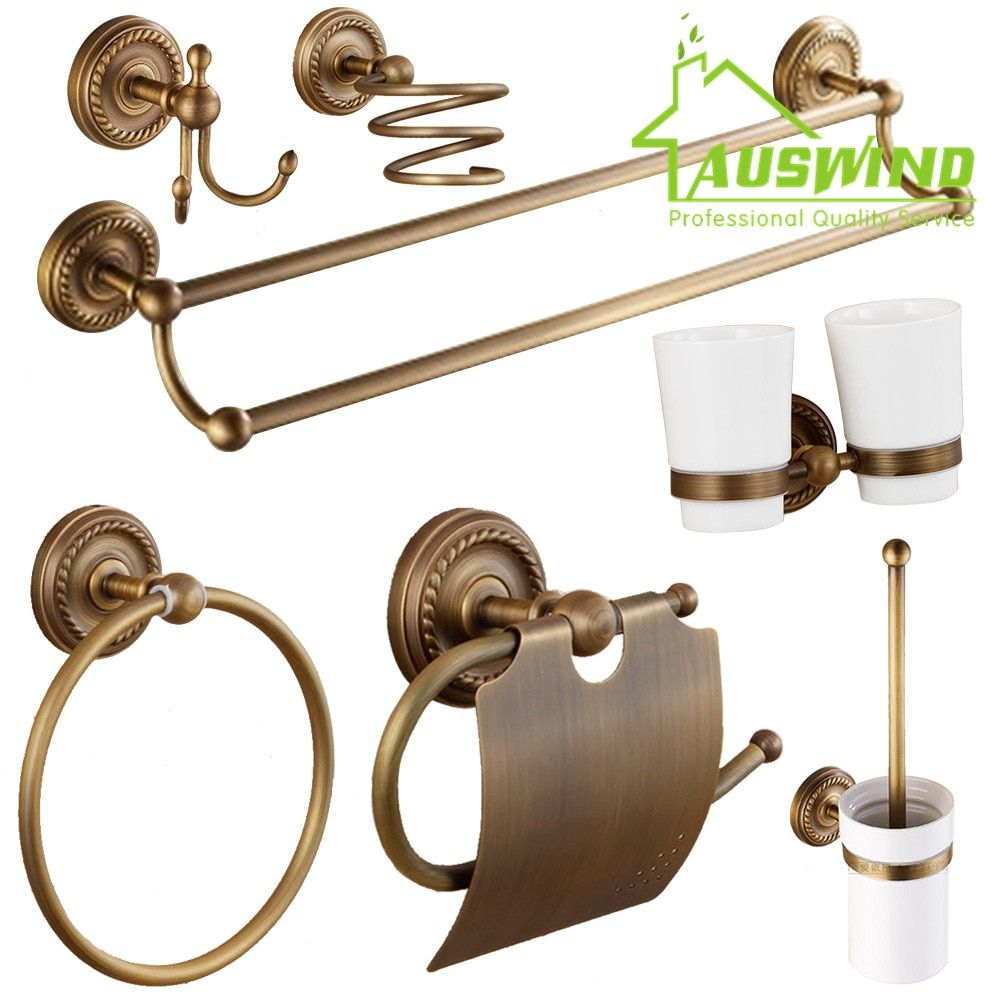 Antique Europäischen Bronze Bad-accessoires Fön Rack Bad Hardware Tissue Box/Handtuchhalter/Tasse-regal/