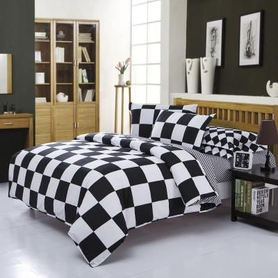 Black and White Check Bedding Sets Polyester Duvet Cover set Bed Sheet Pillowcase Twin Full Queen size King Super Soft 4Pcs /3Pc