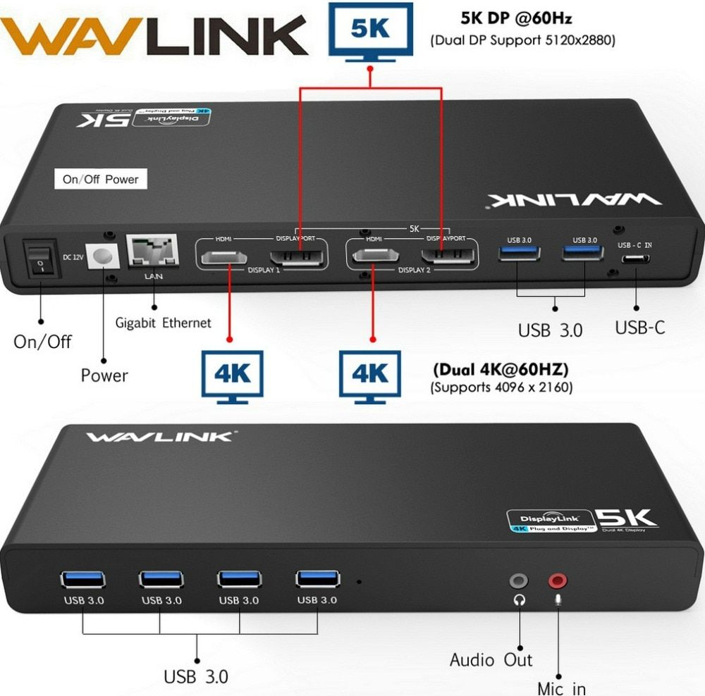 Station d'accueil universelle Wavlink USB 3.0 USB-C double 4 K Ultra Dock DP Gen1 type-c Gigabit Ethernet Mode d'extension et de miroir vidéo