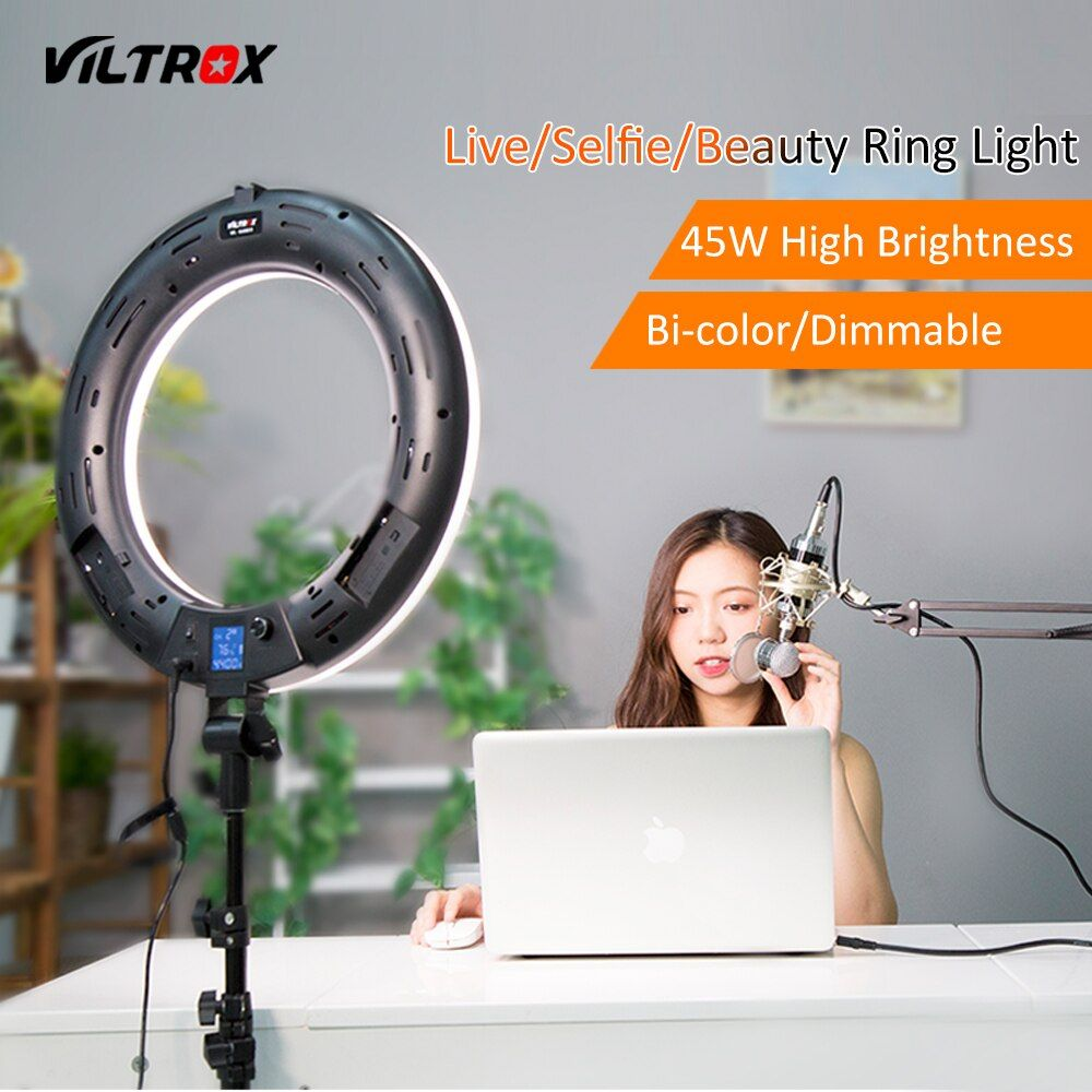 Viltrox VL-600T 45W 3300K-5600K LED Video Ring Light Lamp Bi-color Dimmable+Wireless remote for Camera Photo Studio Phone Live