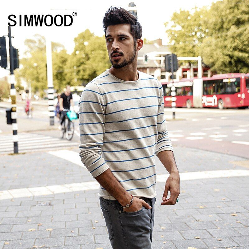 SIMWOOD 2018 autumn New Slim Fit Striped Sweater Men 100% Cotton  Embroidery Thin Knitted Pullovers Curl Hem Plus Size  MT017017