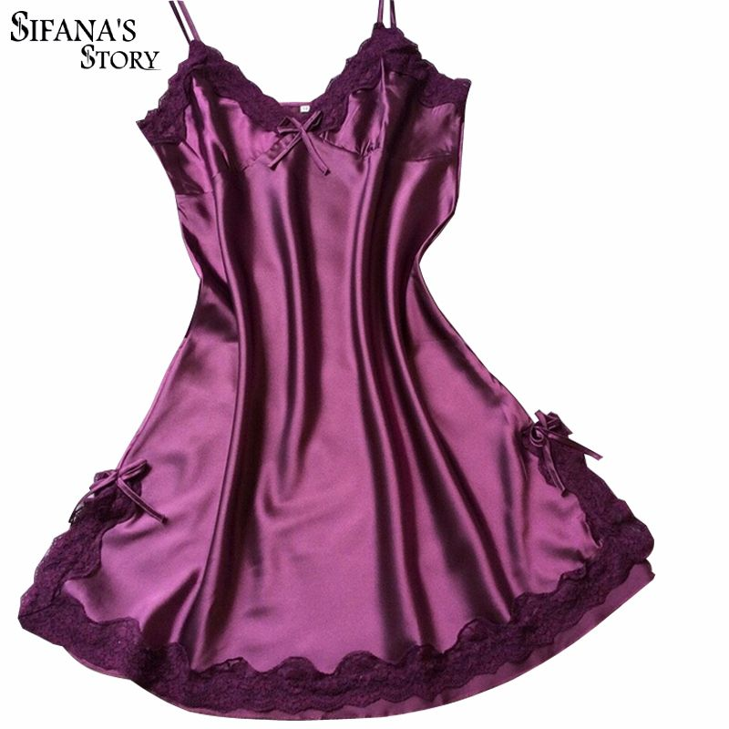 Dames Sexy vêtements de nuit en soie Satin chemise de nuit col en v chemise de nuit Slip nuisettes d'été robe de nuit en dentelle robe de nuit Lingerie pour les femmes