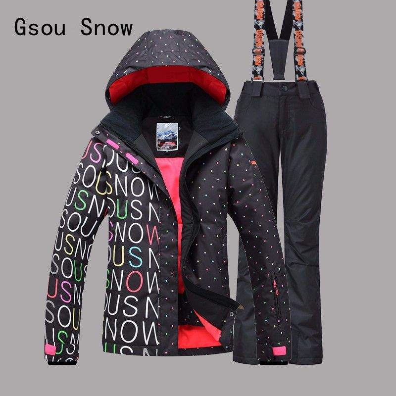 Gsou Snow Dot Style Women Ski Jacket+Pants Windproof Waterproof Outdoor Sport Wear Camping Riding Skiing Super Warm Suit Set New