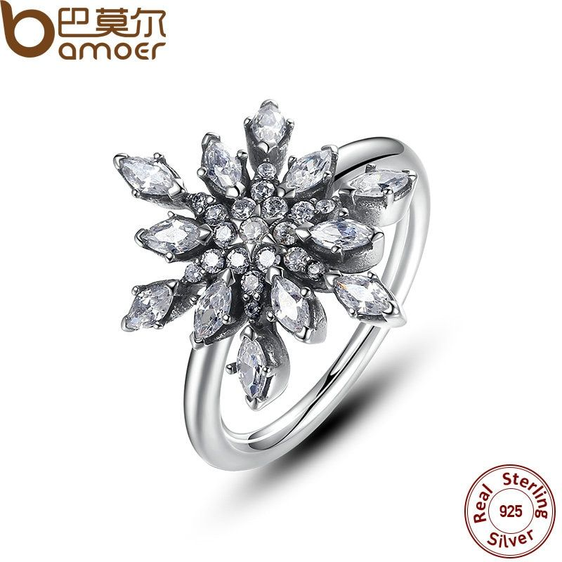 BAMOER 2017 Brand New Hot Collection 925 Sterling Silver Crystalize Snowflake, Blue Crystals & Clear CZ Ring Jewelry PA7159