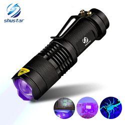 UV linterna antorcha LUZ Ultra VIOLETA lámpara ultravioleta de la luz AA batería para el marcador Checker detección SK68