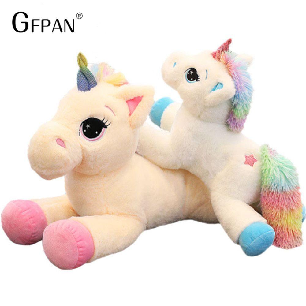 Géant 60/80cm Kawaii licorne peluches doux en peluche poupée dessin animé licorne Animal cheval cadeau d'anniversaire jouets pour enfants enfants