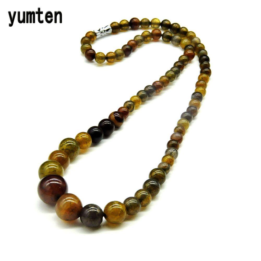 Yumten ambre vert Nature 6mm-14mm perles d'agate ronde pierres de cristal femmes collier meilleur ami cadeaux nouvelle mode livraison directe