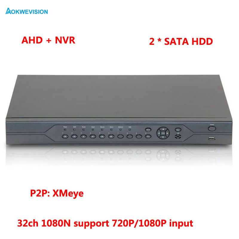 1080P CCTV Camera Hi3521A 32CH 32 Channel 2 SATA 1080N Hybrid Coaxial Onvif IP NVR AHD DVR