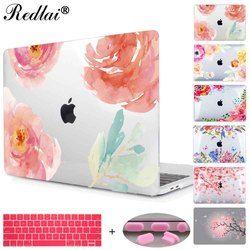 Floral crystal clear impresión duro para MacBook Pro 13 15 2016 Touch bar portátil aire pro retina 12 13 15 con la cubierta del teclado