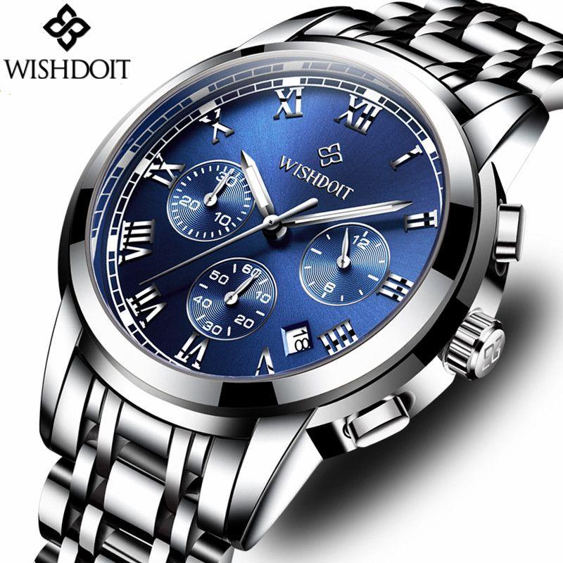 WISHDOIT Mens Watches Top Brand Luxury Fashion Business Quartz Watch Men Sport Steel Waterproof Wristwatch Relogio Masculino