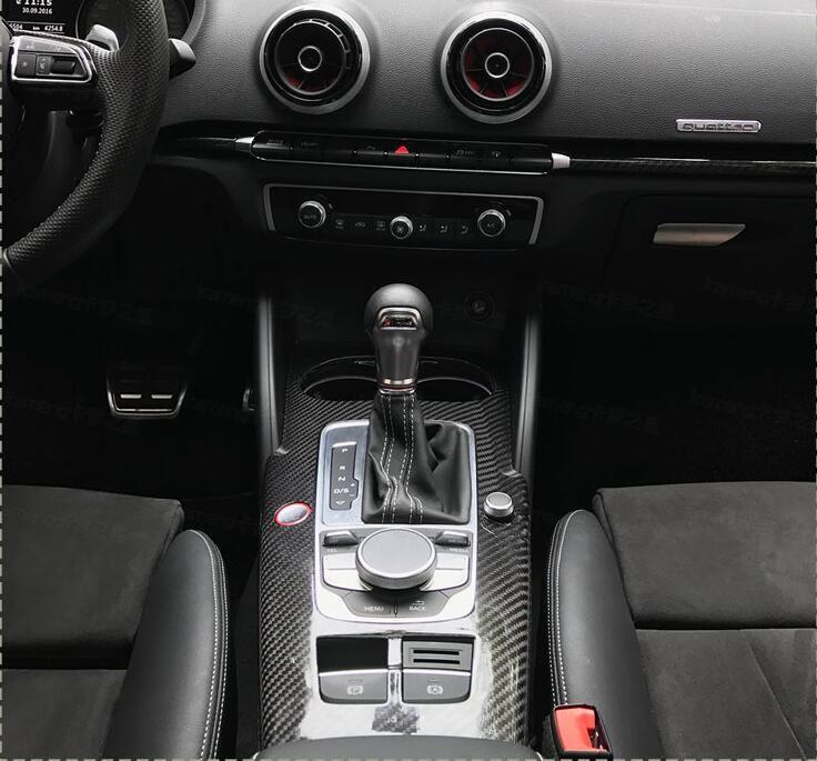 LHD nur Für Audi A3 S3 RS3 2014-2017 Carbon Fiber Innen Formteile Zentrale Steuerung Panel Abdeckung Trim 10 stücke