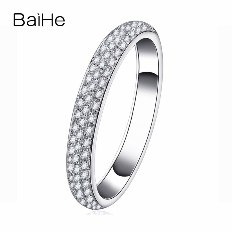 BAIHE Solid 14K White Gold(AU585)0.2CT Certified H/SI Round Cut Genuine Natural Diamonds Wedding Women Trendy Fine Jewelry Ring