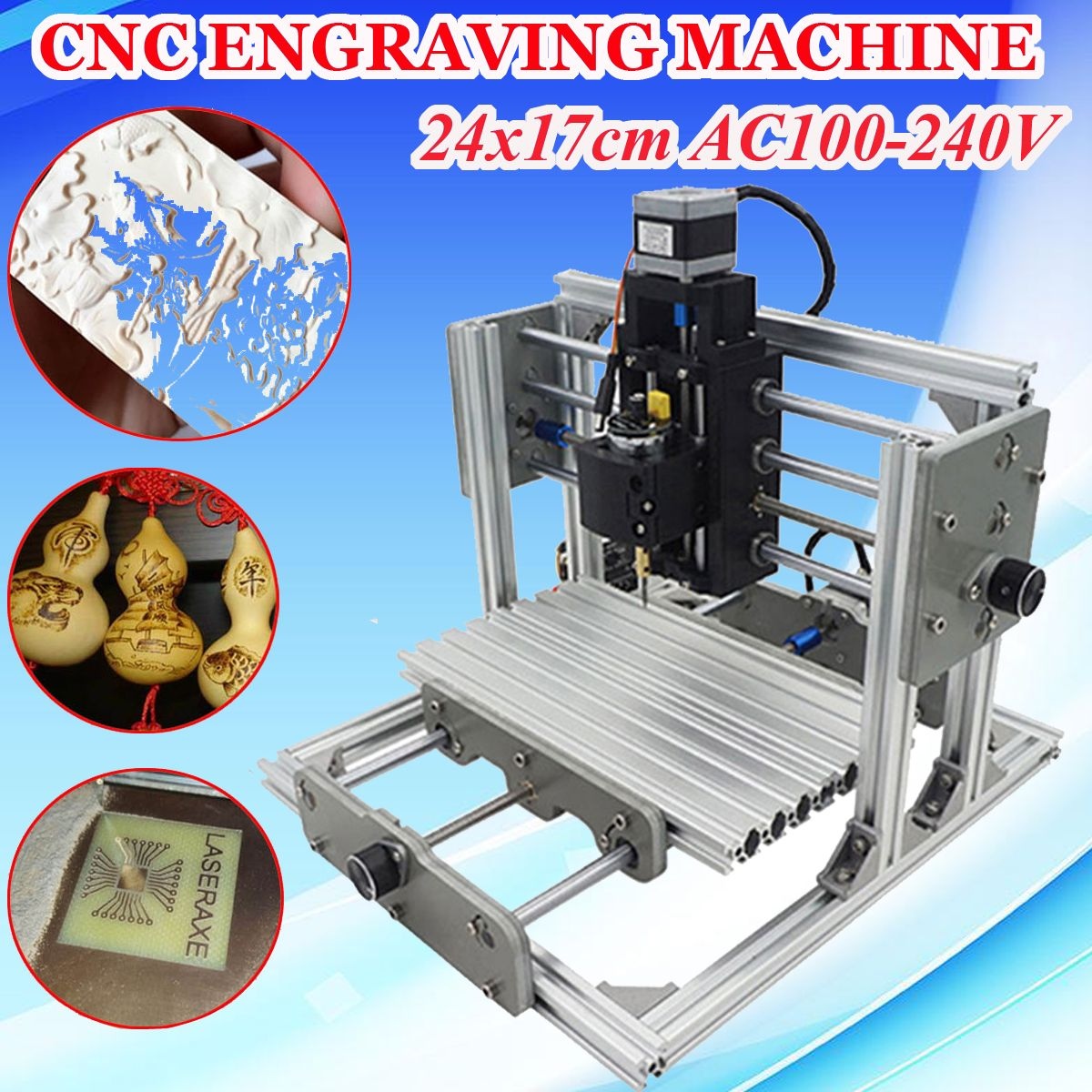 DIY CNC Engraving Milling Machine Assembly Kit Mini 3 Axis PCB Milling Machine Wood Router Laser Engraver Working Area 24x17cm