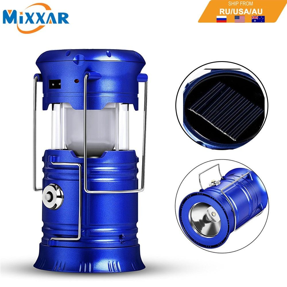 EZK20 Dropshipping LED Camping Lantern Flashlights Collapsible Solar Tent Light Gear Equipment for Outdoor Hiking Emergencies