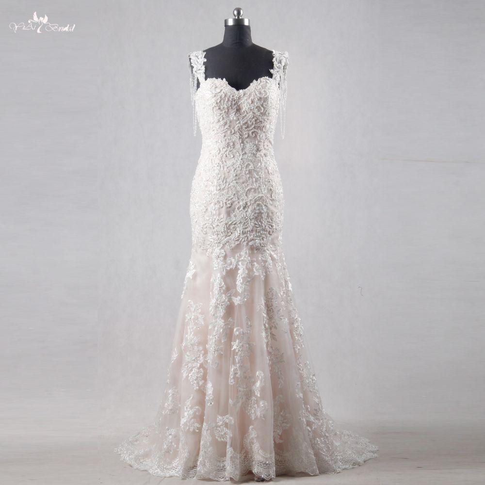 RSW1117 China Brautkleider Schatz Neck Meerjungfrau Spitze Perlen Hochzeit Kleid 2018 Vestidos De Novia
