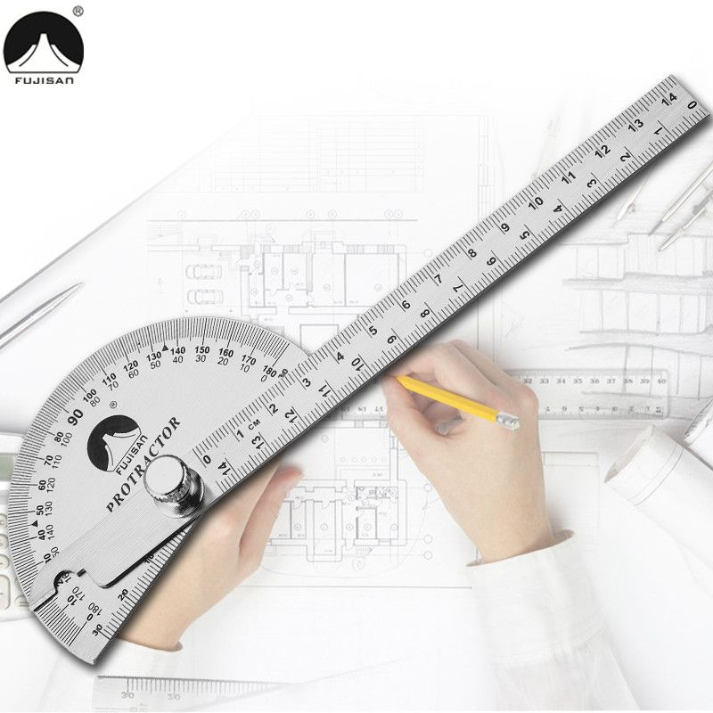 0-180 Degree Angle Ruler Round Head Rotary Protractor 145mm Adjustable Universal Stainless Steel Measuring Tool