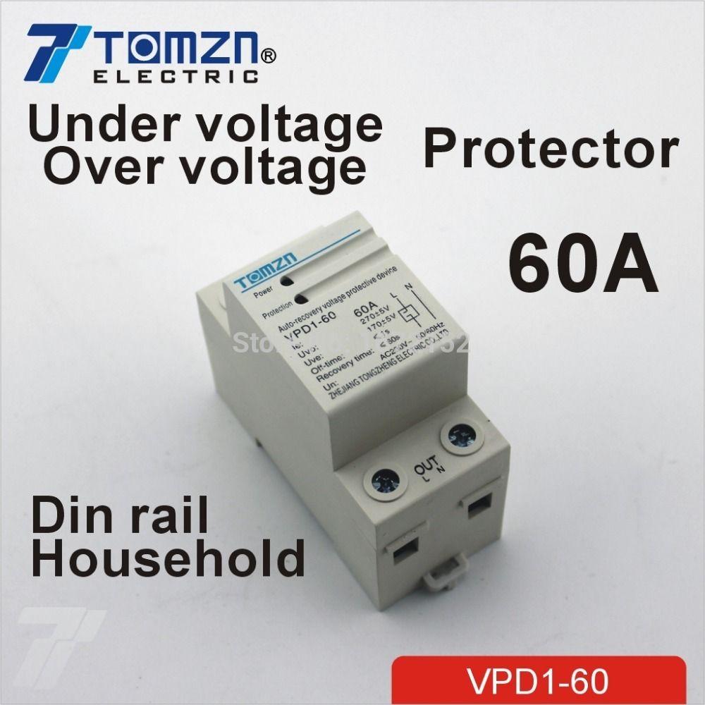 60A 230 V din-schiene automatische wiederherstellung verbinden überspannung und unter spannungsschutzgerät schutzfolie schutz relais