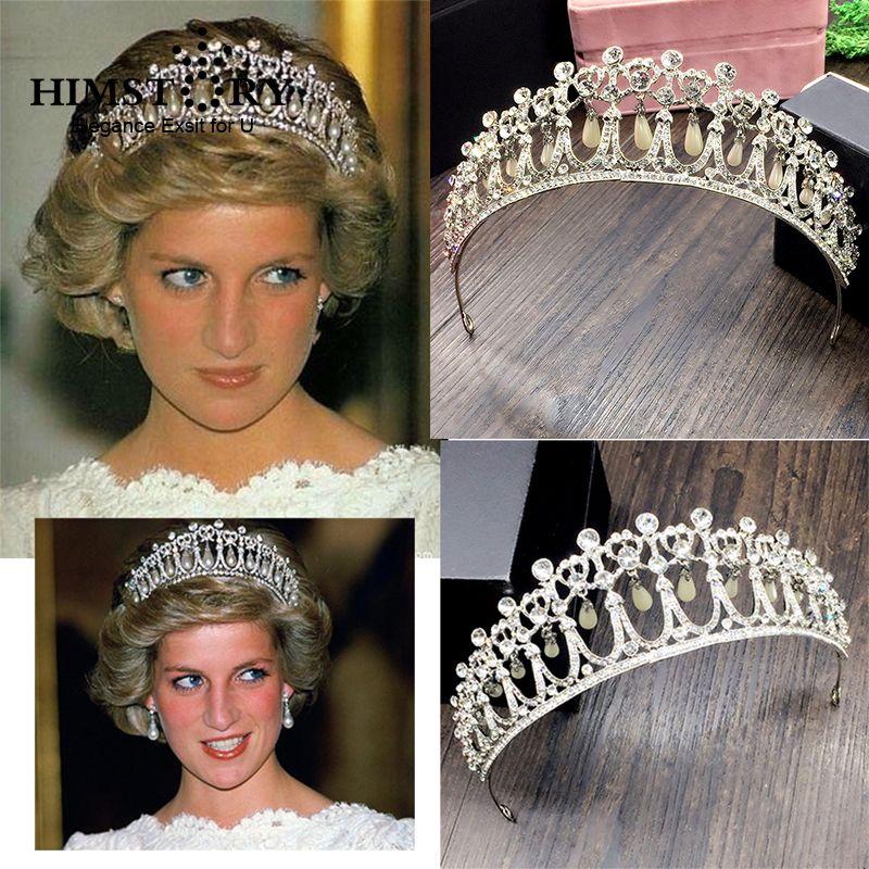 HIMSTORY 2019 nouvelle princesse Diana diadèmes couronne cristal et perle mariée bandeau accessoires mariée diadème coiffure
