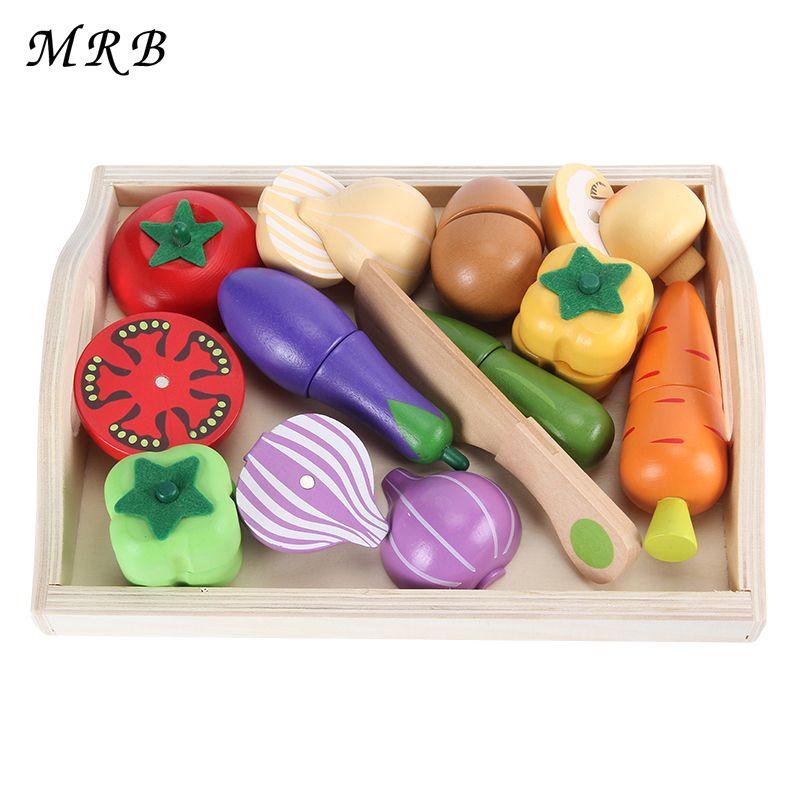 Деревянный Кухонные игрушки Резка фрукты овощи играть миниатюрные Еда Обучающие игрушка в подарок детские развивающие игрушки