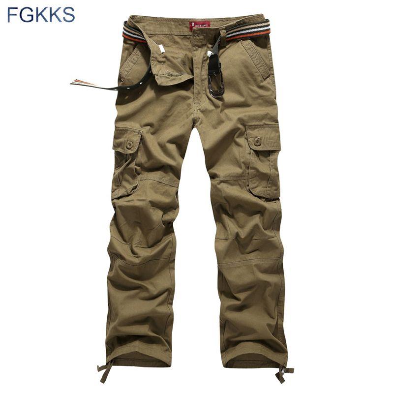 2018 nouveauté haute qualité printemps Style haut à la mode vêtements solide hommes Cargo pantalon coton hommes pantalons Joggers grande taille