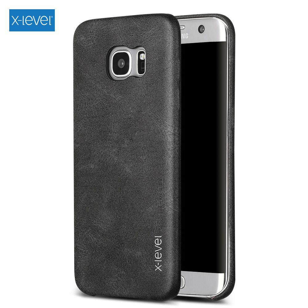 X-LEVEL pour Samsung Galaxy S7 S7 bord J5 J7 A5 2016 S6 S6 bord Note 5 Cas Couverture Capa Vintage Série En Cuir Enduit Dur couverture