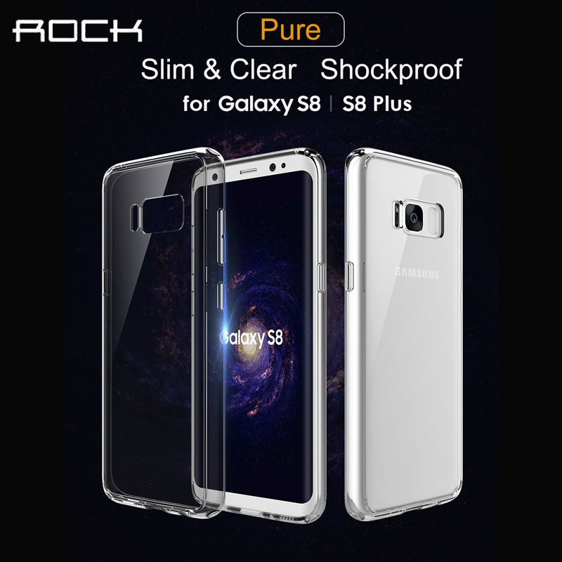 For Samsung Galaxy S8 Case For Samsung S8 Plus Cover ROCK Pure Series Luxury Crystal Clear TPU+PC Phone Cases For Samsung S8
