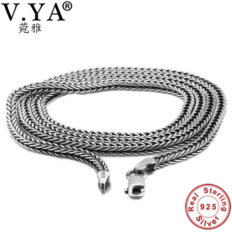 V.YA 2.8MM Thai Silver Men Chain 925 Sterling Silver Snake Chain Necklaces For Male Mens Fine Jewelry 45cm 50cm 55cm 60cm