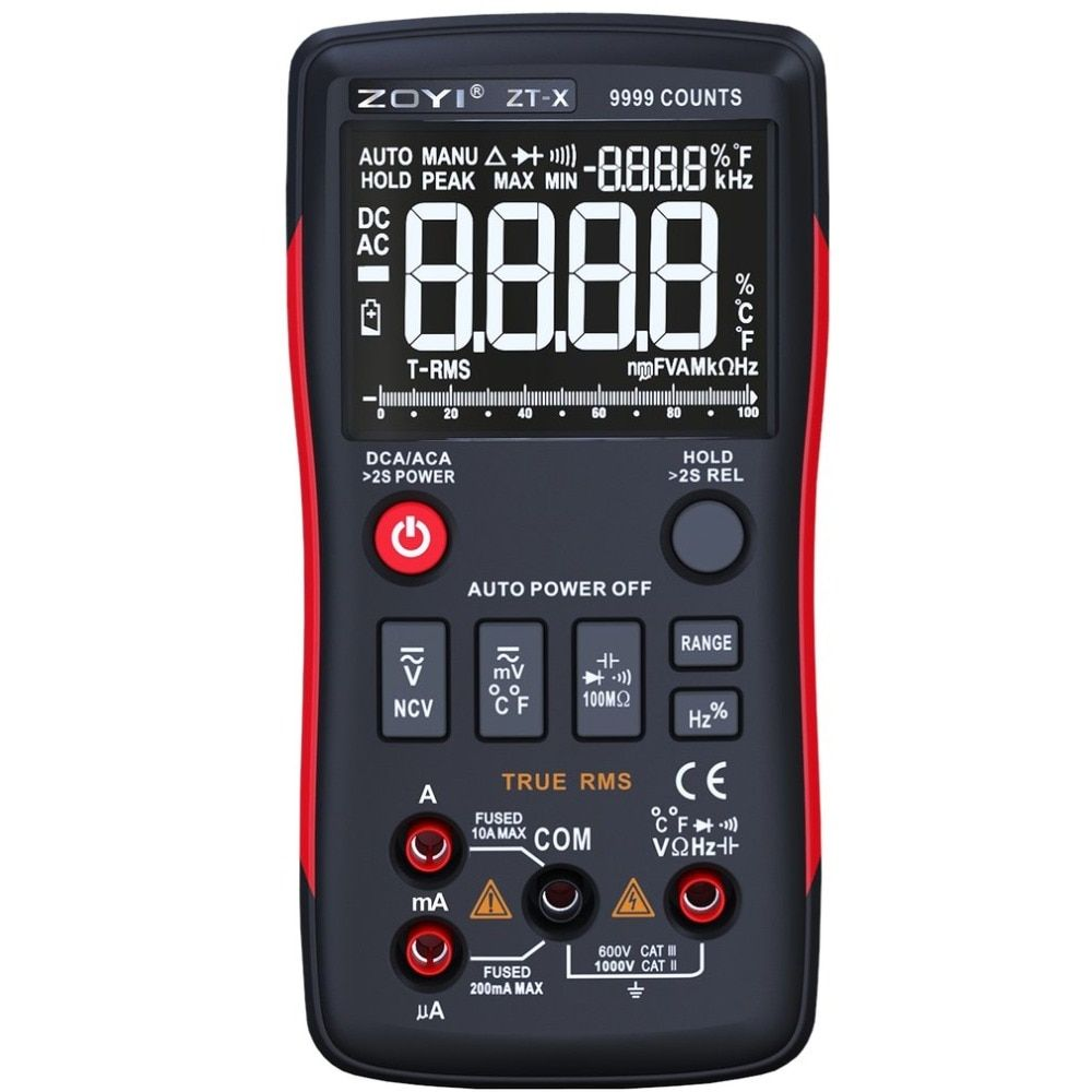 Multimeter Multimetro 9999 Counts Digital Multimeter Button With Analog Bar Graph AC/DC Voltage Ammeter Current Ohm Auto/Manual