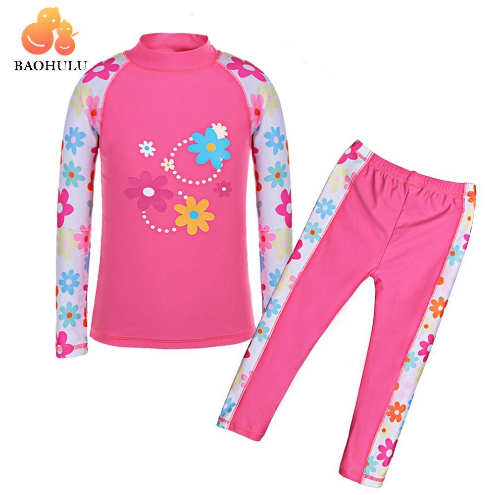 BAOHULU Summer Long Sleeves (UPF50+) Girls Swimsuit Child UV Protection Kids Swimming suits Baby Swimwear Boys Beach <font><b>Surf</b></font> Wear