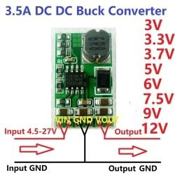 3.5A DC-DC Converter Module Buck Step-Down Voltage Regulator Board 4.5V-27V to 3V 3.3V 3.7V 5V 6V 7.5 9V 12V