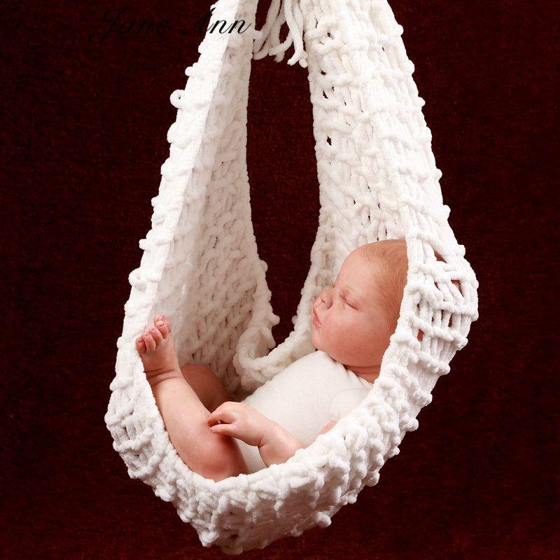 Jane Z AnnCrochet bébé blanc hamac photographie accessoires tricoté nouveau-né infantile Costume Photo accessoires fotografia
