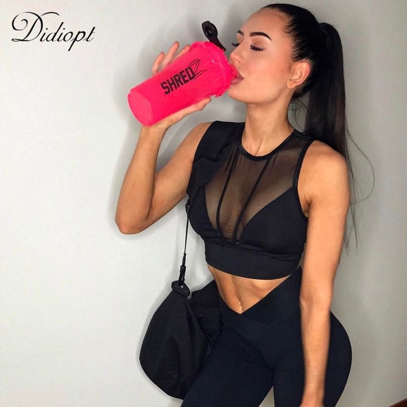 Didiopt Sports BraYoga Bra Womens Running Vest Mesh Corsets Gym Mesh Sports Vest Womens Shorts Top Bodybuilding T1670