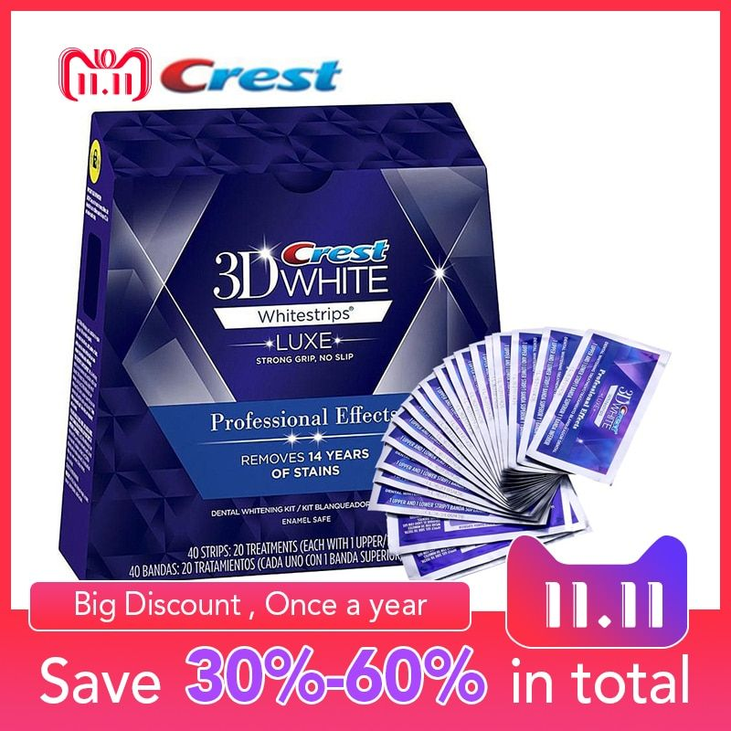 Crest 3D Whitestrips Professional Effects Tooth Bleaching Kit Oral Hygiene Teeth Whitening Strips 20 <font><b>Pouch</b></font>/Box or 10 <font><b>Pouch</b></font>/NoBox