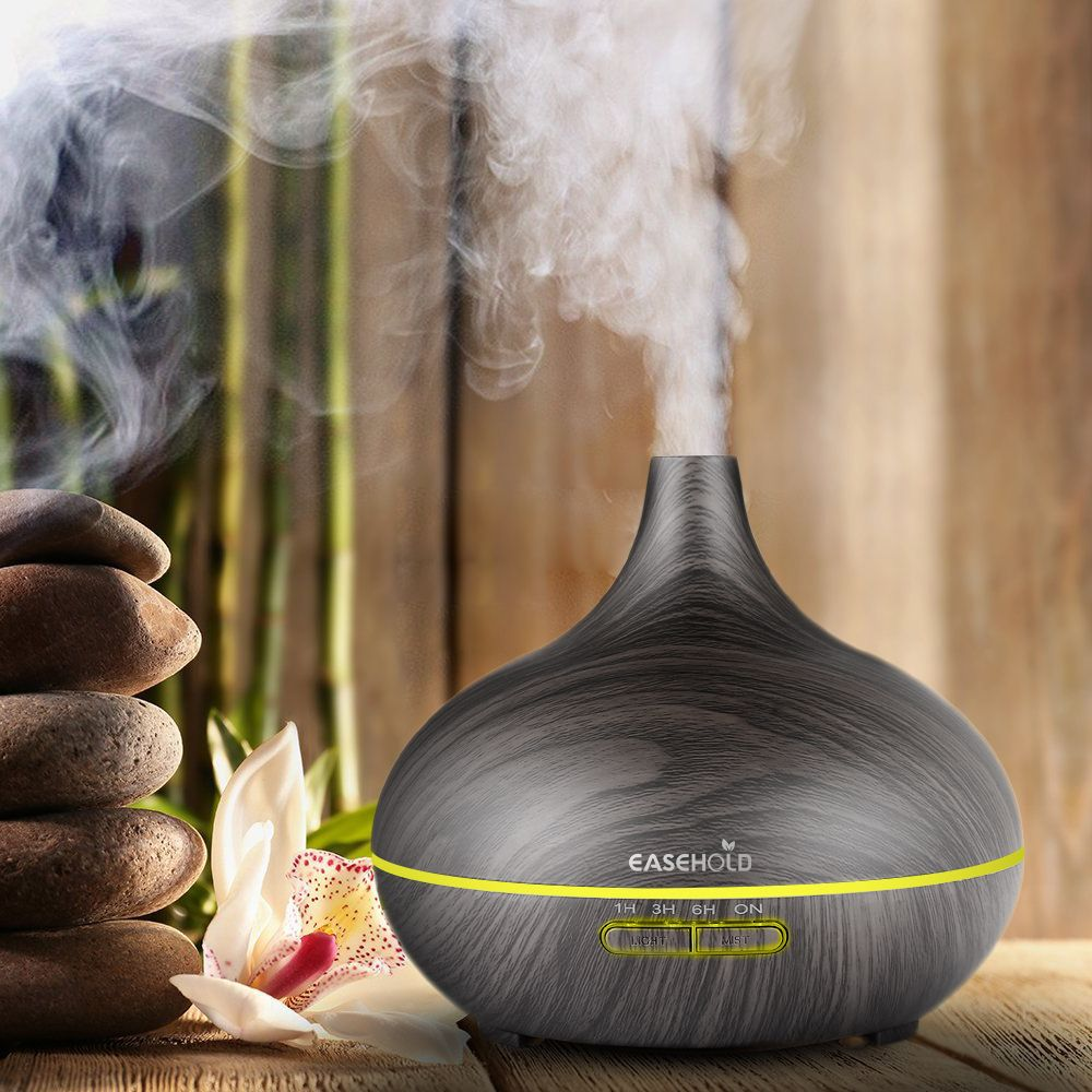 EASEHOLD 300ml Air Humidifier Essential Oil Diffuser Aroma Lamp Aromatherapy Electric Aroma Diffuser Mist Maker for Home-Wood
