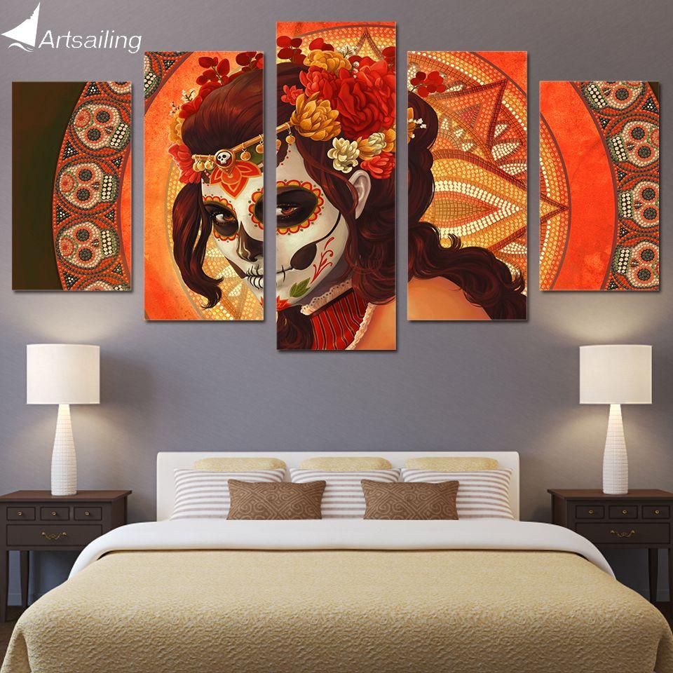 HD 5 pièce toile Art HD imprimé jour des morts visage sucre crâne groupe toile peinture modulaire photos livraison gratuite/NY-279