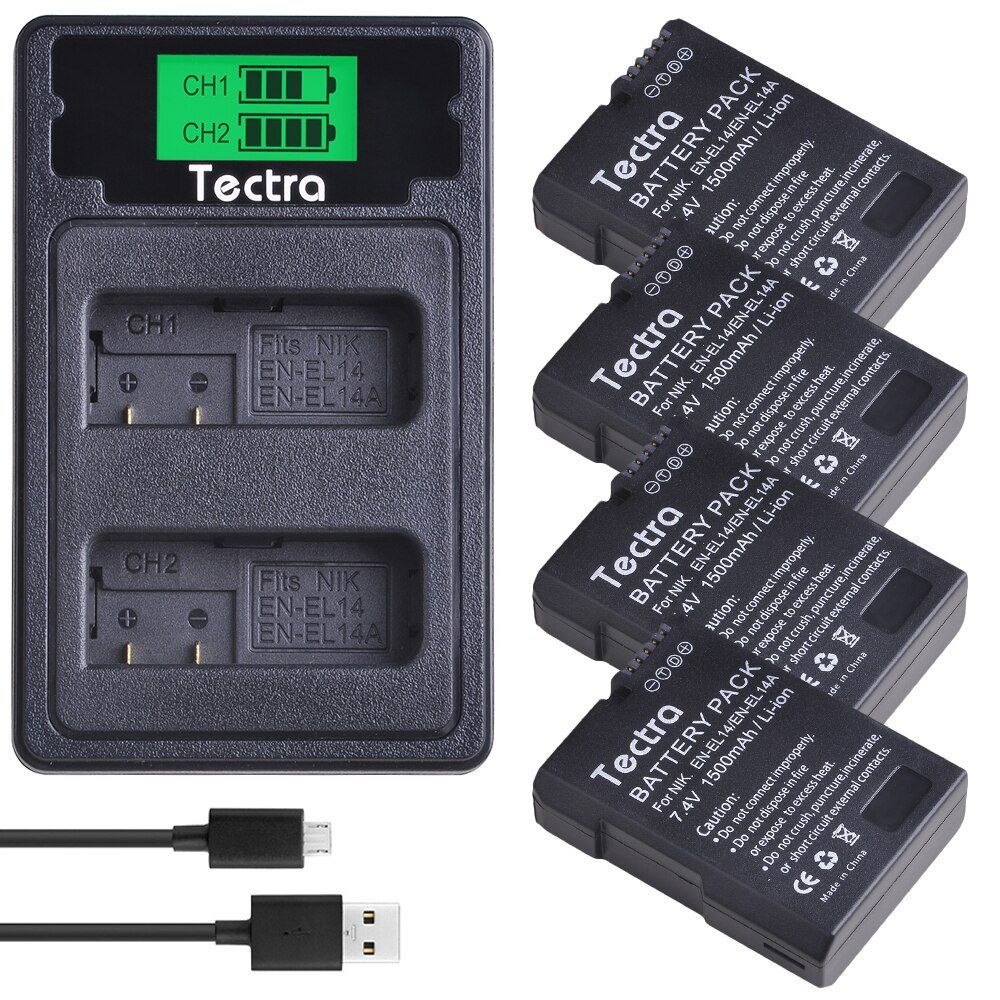 4 pièces 1500 mAh EN-EL14 EN-EL14A ENEL14 Batterie pour Nikon D3100 D3200 D3300 D3400 D3500 D5600 D5100 D5200 P7000 + Chargeur de Batterie D'AFFICHAGE à CRISTAUX LIQUIDES