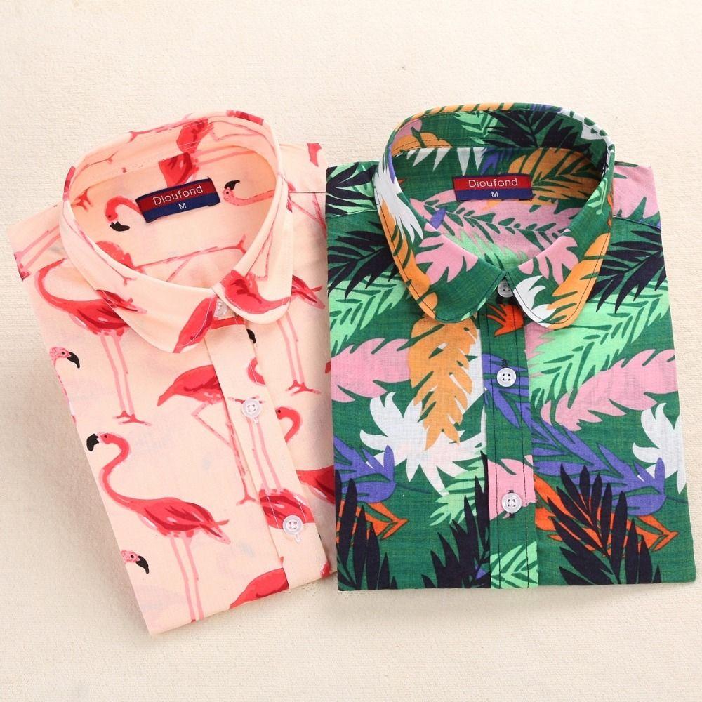 Dioufond Flamingo Print Shirts Women Cotton Floral Blouse Green Leaf  Casual Tops Long Sleeve Female Shirt Autumn Ladies Blusas