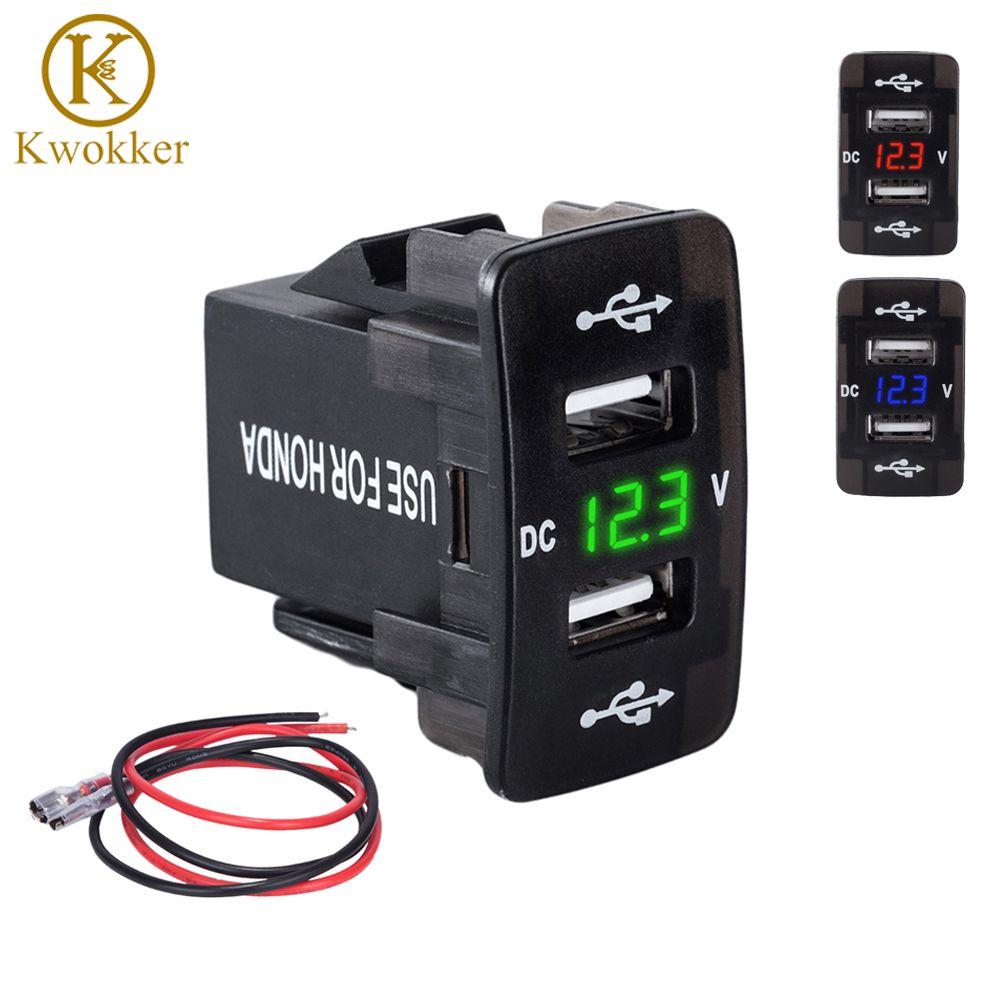 DC 12-24 V Dual USB Port Auto-ladegerät Zigarettenanzünder Power Adapter mit LED Digital Voltmeter Meter Monitor Für Honda