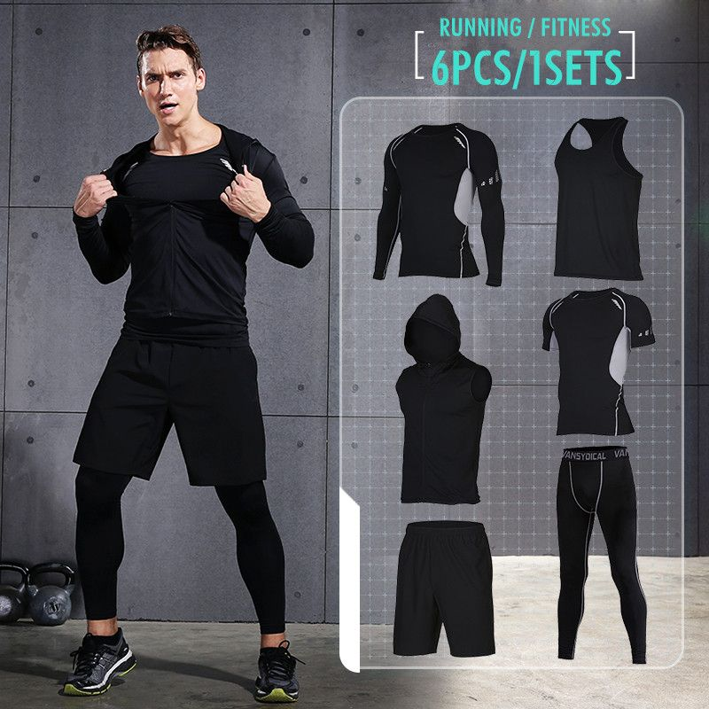 Vansydical Men's Sport Running Suits Quick Dry Basketball Jersey Tennis soccer Training Tracksuits jersey Gym Clothing Sets 6pcs