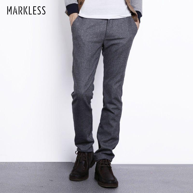Markless Autumn Winter Wool Pants Men Fashion Casual Plus Size 3XL Straight Trousers Male Heavyweight Warm Woolen Pants CKA3819M