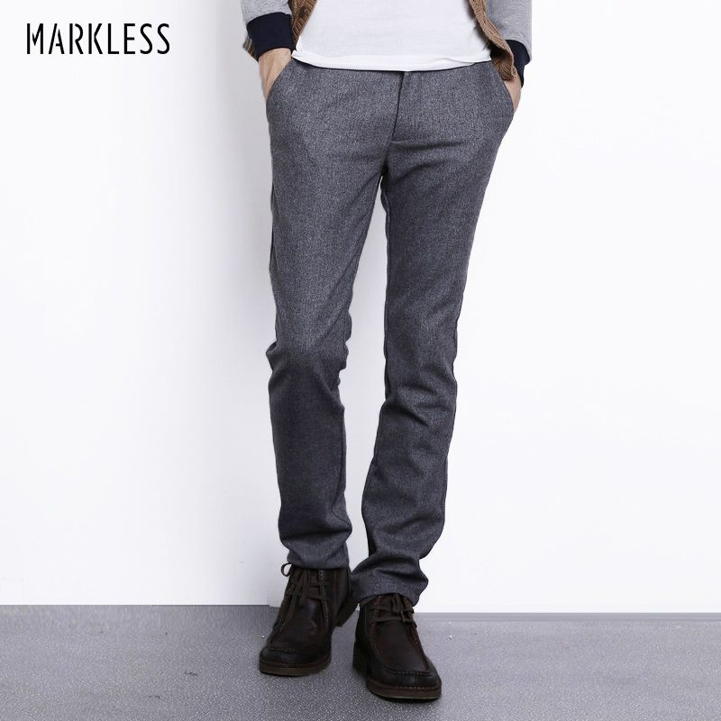 Markless Autumn Winter Wool Pants Men Fashion Casual Plus Size 3XL Straight Trousers Male Heavyweight Warm Woolen Pants CKA3819M
