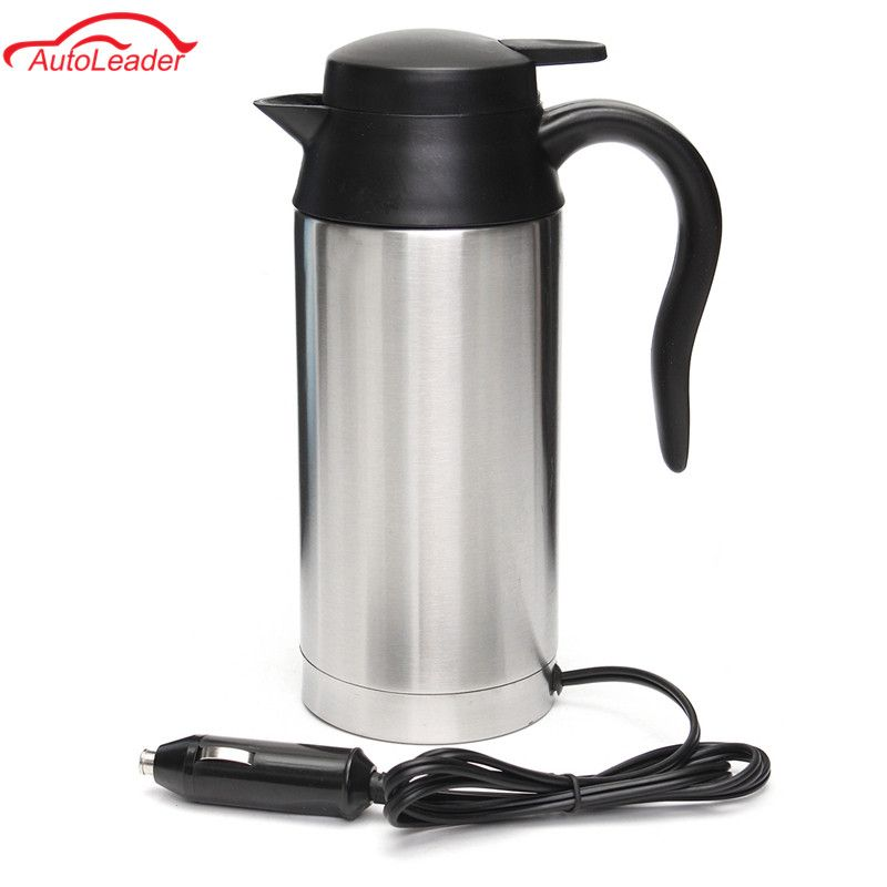 750ml 12V Car Based Heating Stainless Steel Cup Kettle Travel Trip Coffee Tea Heated Mug Motor Hot Water For Car Or Truck Use