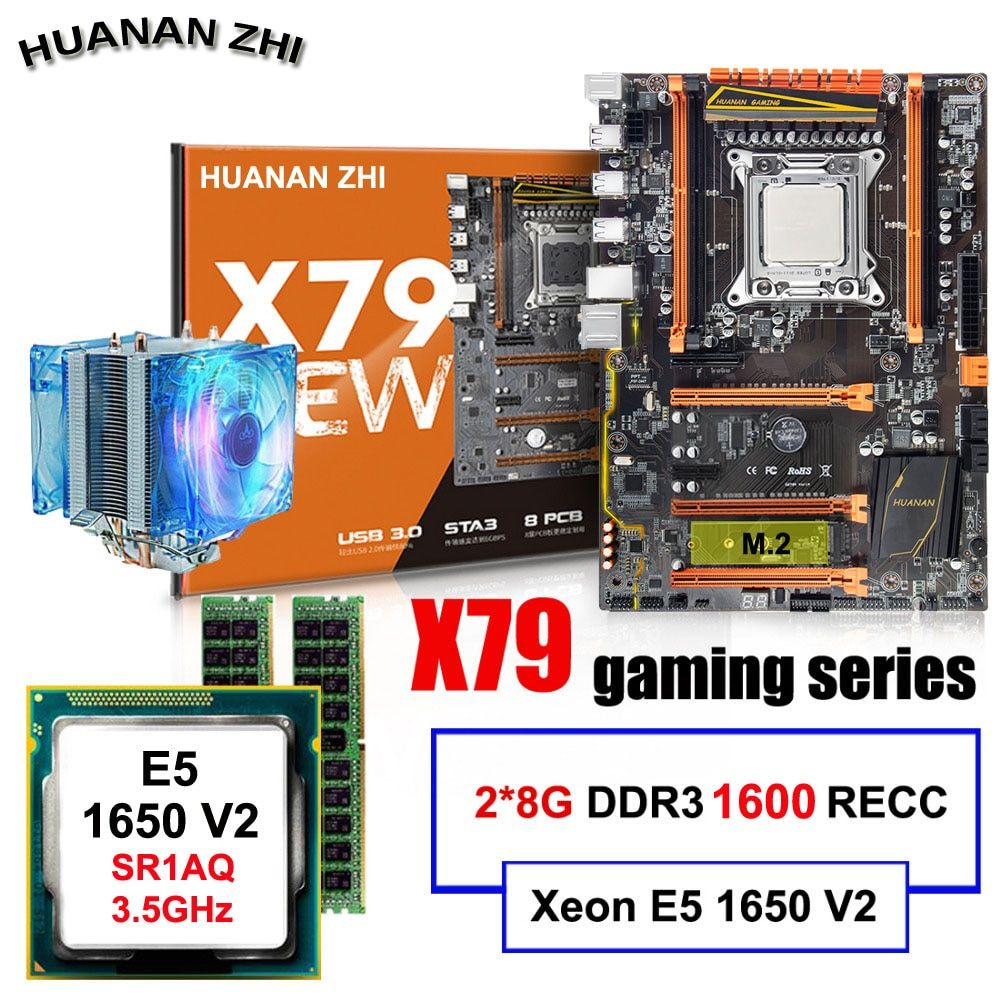 Discount desktop motherboard HUANAN ZHI Deluxe X79 motherboard with CPU Intel Xeon E5 1650 V2 with cooler RAM 16G(2*8G) REG ECC