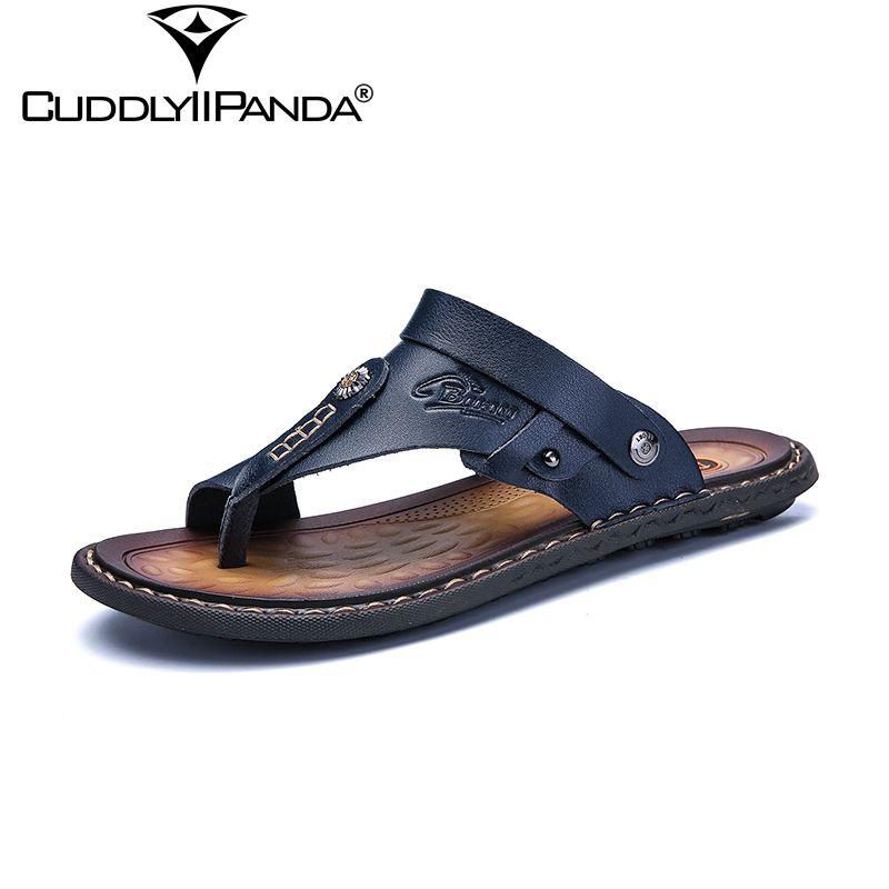 CuddlyIIPanda 2018 Summer New Cool Plus Size 45-47 Men Flip Flops Light Weight Beach Slippers Metal Decoration Sandalias Hombre