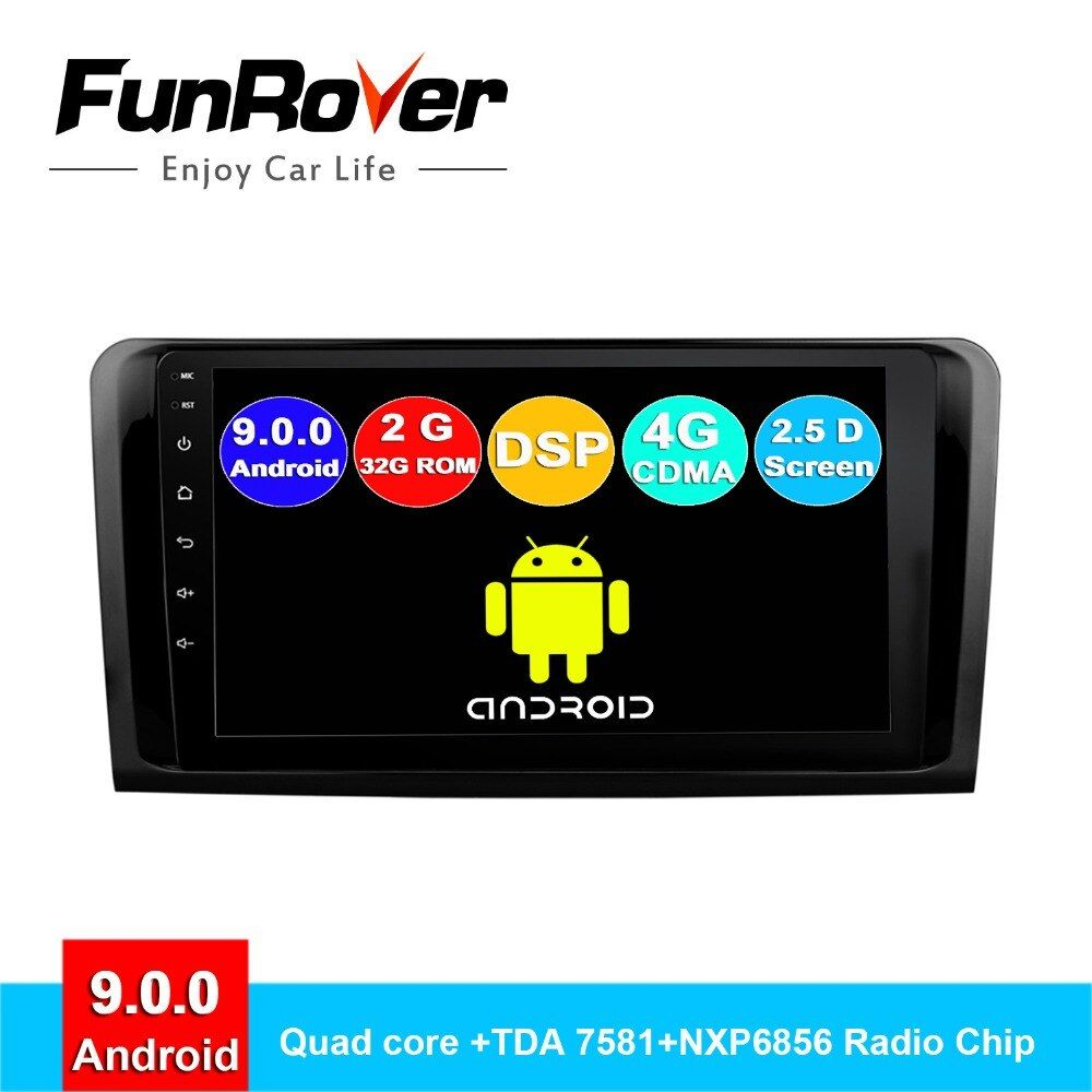 Funrover 2 din android 9.0 auto radio dvd multimedia für Mercedes Benz ML ML350 W164 GL X164 ML320 ML280 GL350 GL450 gps navi DSP