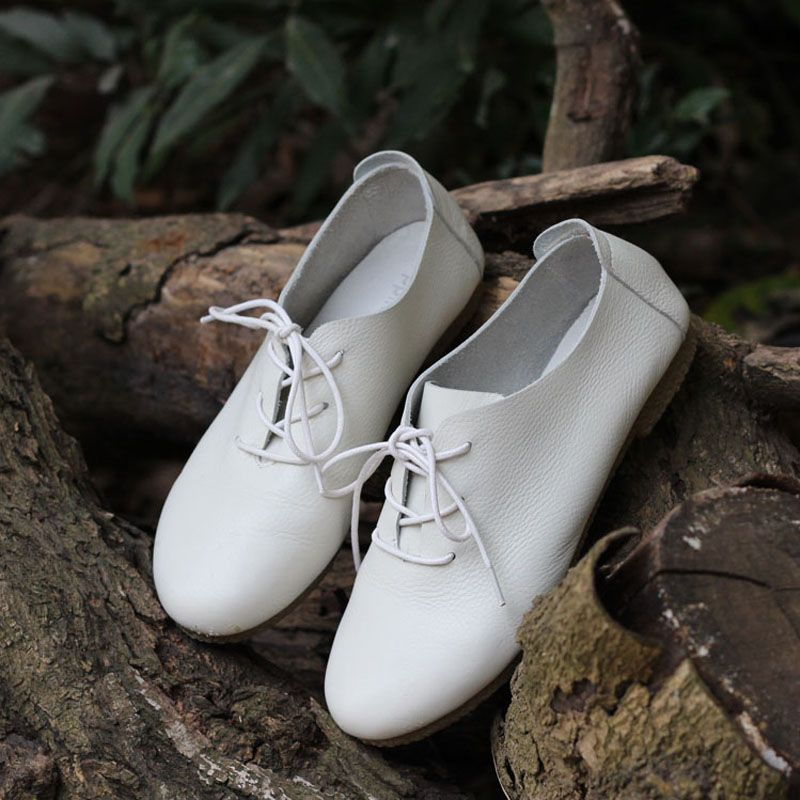 4 Color ! Women's Flat Shoes Genuine Leather Casual Lace Up Shoes Round toe Female Footwear Slip Resistant Rubber sole (1688-2)