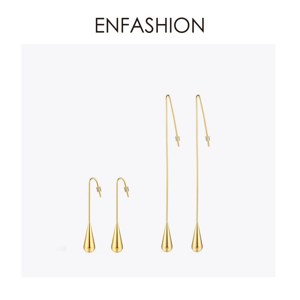 Boucles d'oreilles pendantes en forme de goutte d'eau Enfashion boucles d'oreilles en or couleur boucles d'oreilles pour femmes longues boucles d'oreilles bijoux de mode brinco