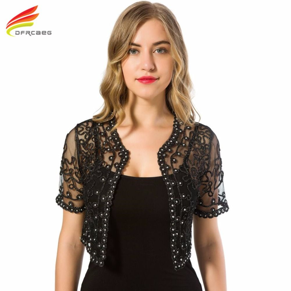 Women Basic Coat 2017 Summer Style Women Perspective Shawl Fashion Hollow Out Lace Boleros Short Sleeve Coats Jackets Female