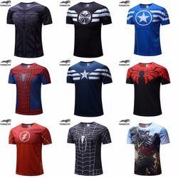 Envío libre 2018 Camiseta Superman/Batman/hombre araña/capitán América/Hulk/hombre de hierro/t hombres de fitness hombres camisetas camisas