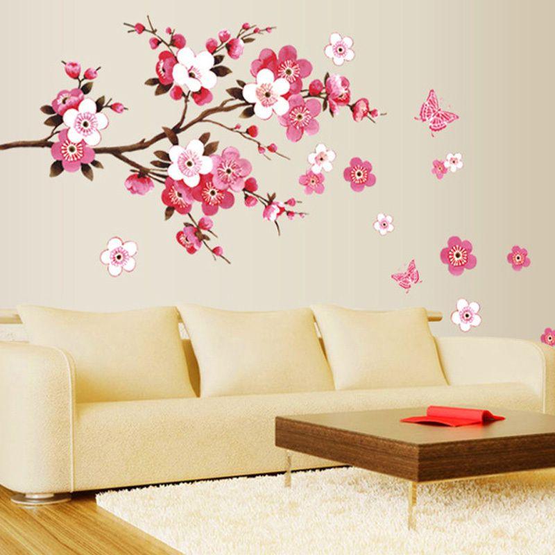 Оптовая красивая сакура стены стикеры гостиная спальня украшения 739. diy цветы пвх главная наклейки настенной росписи искусства плакат 3.5